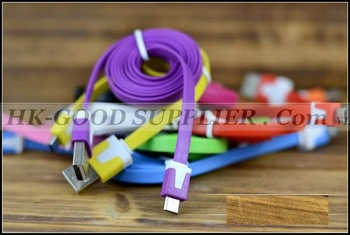 20pcs 1m USB Data Sync charger miro usb Noodle flat color cable for HTC Samsung Galaxy S3 S2 ONe Nokia LG  price for 1m