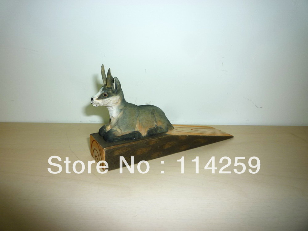 free shipping high quality wooden chamois door stoper carved and pained by hand for christmas decoration(China (Mainland))