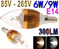 85V-265V 6W 9W E14 LED Light Bulb Candle Lamp 300LM LED Bulb White/Warm White Spot light Free Shipping