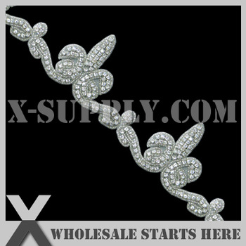 Free Shipping Crystal Rhinestone Applique Beaded Trim for Wedding Bridal Sash,Headband and Shoe/Wholesale Bulk