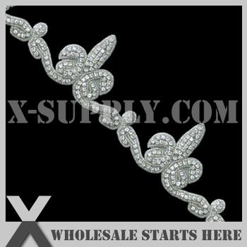 Free Shipping Crystal Rhinestone Applique Beaded Trim for Wedding Bridal Sash,Headband and Shoe/Wholesale Bulk