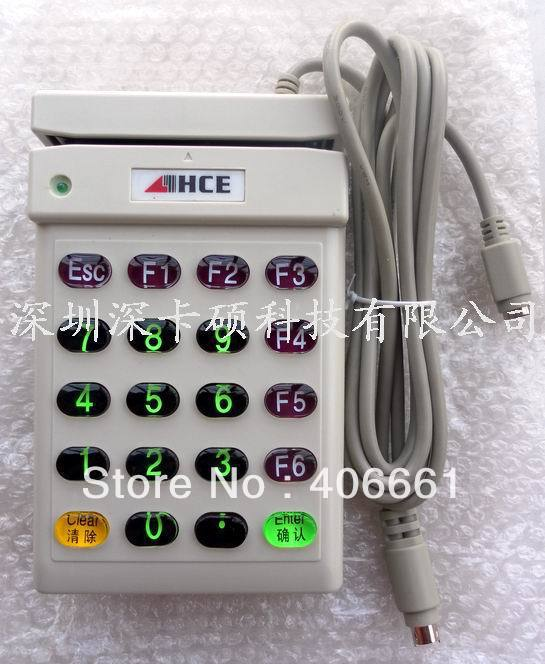 HCE-702 Magnetic Card Reader with Keyboard ,can read ISO Track 2 ps2 interface(China (Mainland))