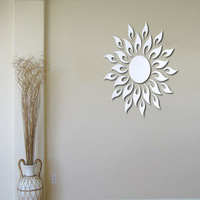 Free shipping sunflower Art wall  background wall mirror crystal wall stickers homes flower wall art  vinyl wall sticker