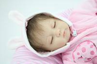 18 inches Sleeping reborn baby doll handmade soft silicone vinyl baby alive doll lifelike hot toys