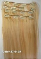 100% human hair clip in natural hair viring hair 7pcs 70g/set ,8pcs,100g/set color P27/613#,1set