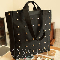 FREE SHIPPING~Fashion rivets handbag rivet shoulder bag    black rivet women's handbag female
