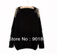 2012 New Fashion European Beading Studed O-neck Batwing Long Sleeve Casual Pullover Knitted Sweater With Rivets Free Shipping