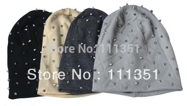 1PC Khaki/Black/Grey/Dark Grey Unisex Hip-hop Style Baggy Beanie Spike Studs Rivet Cap Hat(China (Mainland))