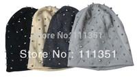 1PC Khaki/Black/Grey/Dark Grey Unisex Hip-hop Style Baggy Beanie Spike Studs Rivet Cap Hat