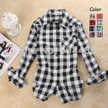 [J426] 2012 Fashion long Sleeve women blouse shirt,Lattice shirts,Single Breasted tops cotton Dress blouse