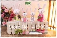 Free shipping! 4pcs/set Resin doll cartoon resin crafts  rabbit toys home decor wedding gift