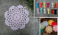wholesale 100% cotton hand made crochet doily, cup coaster placemat 10cm crochet applique round color can be choose 20pcs/lot
