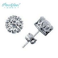 Free shipping poshfeel brand New arrivals imperial crown 925 sterling silver & platinum & AAA swiss crystal earrings jewelry