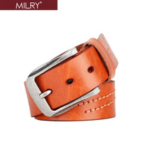 New Free Shipping Brand MILRY 100% Genuine leather belt for man waistband pin buckle fashion men belt high quality gift L0081
