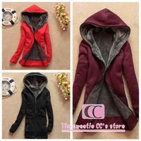 Hoodies sweatshirts autumn and winter fashion(black/grey/khaki/red)with a hood plus velvet thickening women's cardigans(M/L/XL)