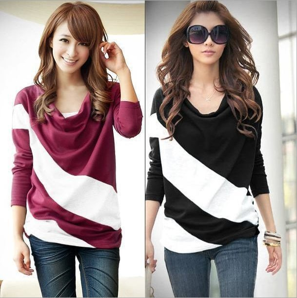 Loose sleeve T-shirt stitching striped long-sleeved knitwear pullover for ladies free shipping W4099(China (Mainland))