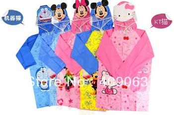 5pcs/lot Cartoon style waterproof children rain poncho jacket rainwear student rainproof school bag holder free shipping