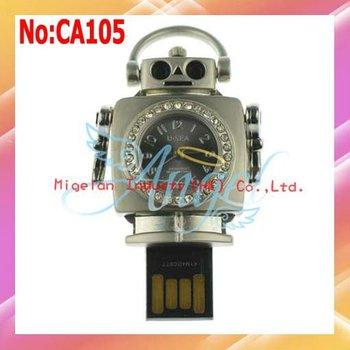 Free shipping wholesale 1GB 2GB 4GB 8GB 16GB 32GB 64GB USB Flash Memory Drive robot watch jewelry usb flash drive #CA105