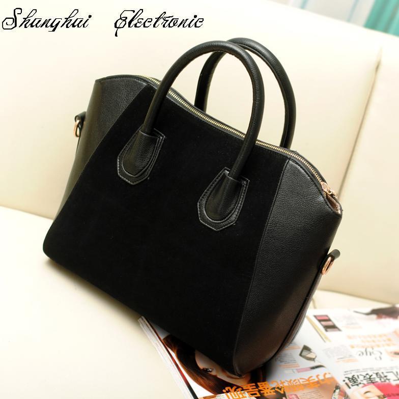 Hot Sale! Bag fashion bags 2013 patchwork nubuck leather women's handbag smiley shoulder bags free shipping(China (Mainland))