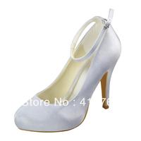 Aineny99Ivory Round Toe Inside Platform Stiletto Heel Buckle Strap Satin Wedding Bridal Shoes Free Shipping Multiple ColorsL156