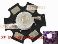 Freeshipping! 10pcs 3W UV/Ultra Violet High Power LED Bead Emitter 395-400NM with 20mm Star Platine Heatsink