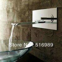 Single Handle Waterfall Ys4662 Wall Mounted Bathroom Sink Faucet  Nickel Brushed Y-026