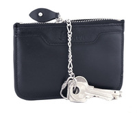 Fashion designer men coin wallet 100% genuine leather coin bag for male with key ring black coin holder