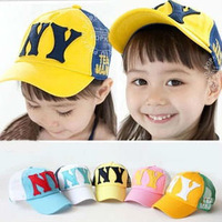 New Korea NY Net Cap Summer Breathable Sun Hat Peaked Caps Kids Children Baseball Cap, Free Shipping 80431