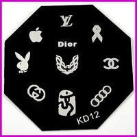 Free Shipping   10 pieces/lot  Stamping Plates   KD12  Brand Logo Series   KD Stamp Nail  Plate