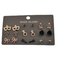 2013 new fashion stud earrings jewelry sets(9pairs) earings fashion 2013 free shipping promotion!!!!