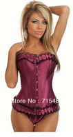 Hot Selling Free Shipping  Purple Victorian Corset Vest Tops Satin Overbust Shaper