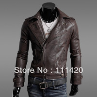 Men Slim PU Leather Coat Inclined Zipper Design Casual Short Jacket MLXLXXL Free Shipping SL12121806