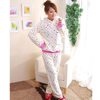Autumn&winter Cute Dot Coral Fleece Thick Pajamas Ses for Women Home Sleepwear