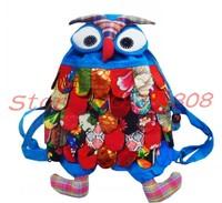 NEW wholesale Handmade BIG OWL Bag/Handmade craft owl bag/kids backpack 2 shoulders  fashion bag gift free ship 5pcs
