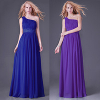 Grace Karin Stock Long Design One Shoulder Pleated Blue Gown Prom Ball Evening Party Dresses CL4107