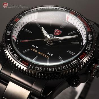 SHARK Analog LED Dual Time Date Alarm Reloj Black Stainless Steel 3ATM Water Resistant Quartz Men's Sport Digital Watch / SH001