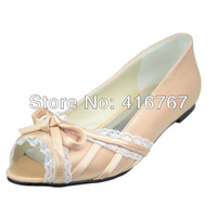 Aineny99Champagne Bow Peep Toe Flat Heel Bowtie Lace Satin Wedding Bridal Evening Party Shoes Free ShippingMultiple ColorsL215