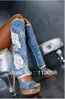 fashion women brand denim boots for summer
