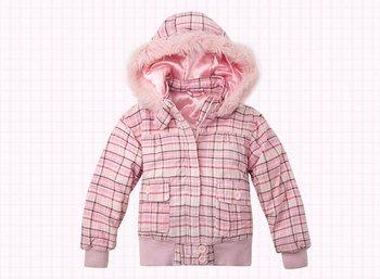Freeshipping Autumn winter pink cute Children Child girl Kids baby Plaid hoody hooded short coat jacket outwear top WM1433