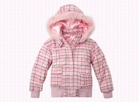 Freeshipping Autumn winter pink cute Children Child girl Kids baby Plaid hoody hooded short coat jacket outwear top WM1433
