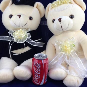 35 cm plush teddy bear toy sitting bears lovers in wedding dress, 1 pair/lot stuffed bear toy for wedding gift, free shipping