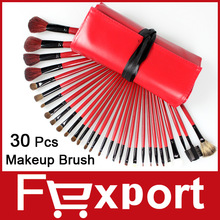 High Quality 30 Pcs Professional Makeup Brushes Set with Red Leather Bag, 1005