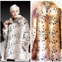 High Quality European Style Ladies Leopard Plus Size Faux Fur  Coats Fake Rabbit Fur Coats Free Shipping