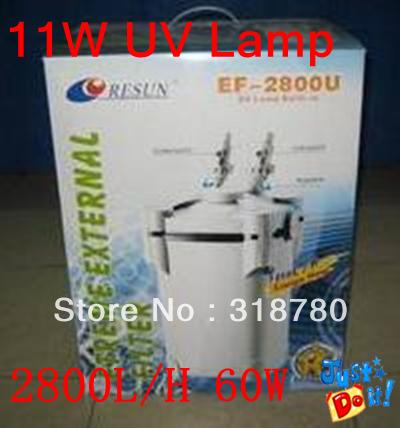 60W Resun 4-Stages External Canister Filter + 11W UV Sterilizer 2800L/H Aquarium Pond Fish Tank(China (Mainland))