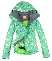 Free shipping 2013 new arrival womens peach hearts waterproof snowboard jacket ladies skiing jacket snow parka skiwear green