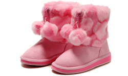 Youth Suede Fur Winter Warm Boots Shoes [Kids/Girls] snow,cute pink style(China (Mainland))