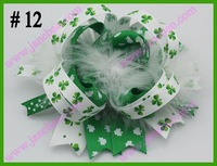 free shipping 30pcs fashion St. Patrick's Day hair bows Festival girl baby boutique hair bows  girl hair clips