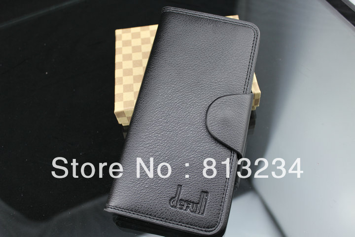 Free shipping Brand New Discount Designer Leather Long Wallet for Men Idea Gift Black Color WB-13(China (Mainland))