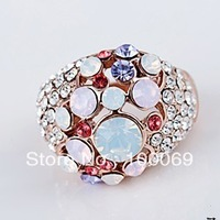 50% OFF Min.order is $15 (mix order) 18K Rose Gold Plated Finger Ring With Crystal Elements Min.order is $15