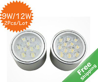 Adjustable  high power led down light +9W/12W for option+Mounted installtion+90V-265V+2pcs/lot+Free shipping
